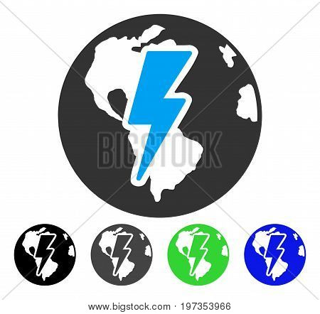 Earth Shock flat vector icon. Colored earth shock gray, black, blue, green icon variants. Flat icon style for graphic design.