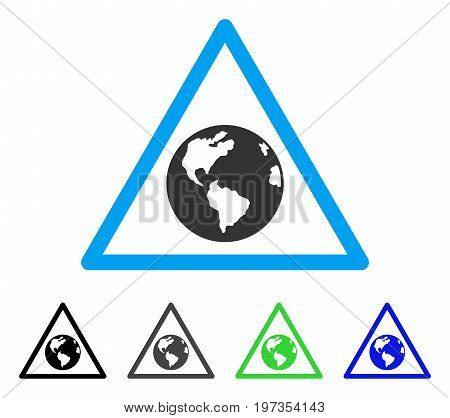 Earth Warning flat vector icon. Colored earth warning gray, black, blue, green pictogram variants. Flat icon style for web design.