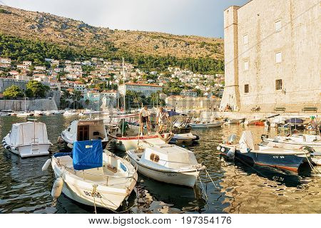 Boats At Saint John Fort And Old Port In Dubrovnik