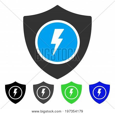 Electric Guard flat vector icon. Colored electric guard gray, black, blue, green pictogram variants. Flat icon style for graphic design.