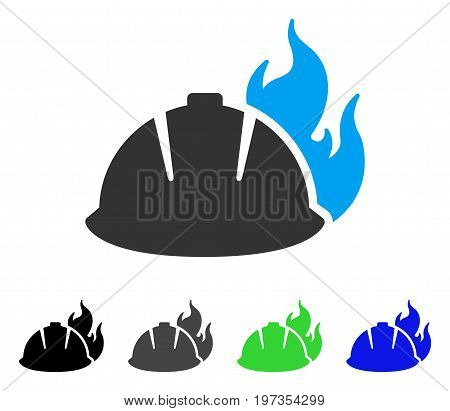 Fire Helmet flat vector pictogram. Colored fire helmet gray, black, blue, green icon versions. Flat icon style for graphic design.