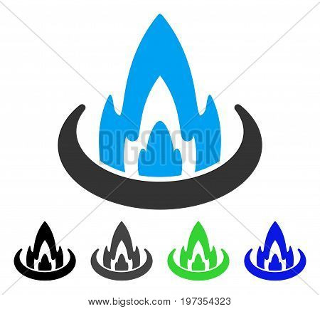 Fire Location flat vector icon. Colored fire location gray, black, blue, green icon variants. Flat icon style for application design.