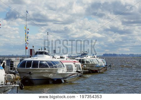 PETERHOF/ RUSSIA - JULY 2, 2017. Passenger mooring Peterhof for hydrofoil boats of the type Meteor, located at the open coast of Gulf of Finland in Peterhof (suburb of St. Petersburg), Russia
