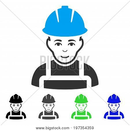 Glad Worker flat vector pictograph. Colored glad worker gray, black, blue, green icon versions. Flat icon style for web design.