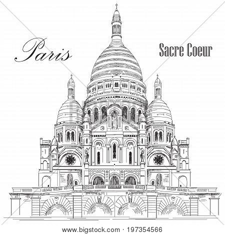 Sacred basilica Sacre Coeur in Paris France vector hand drawing illustration in black color isolated on white background