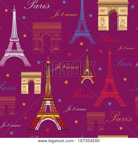 Seamless pattern with landmarks of Paris (colorful Eiffel tower and Triumphal arch) on pink background