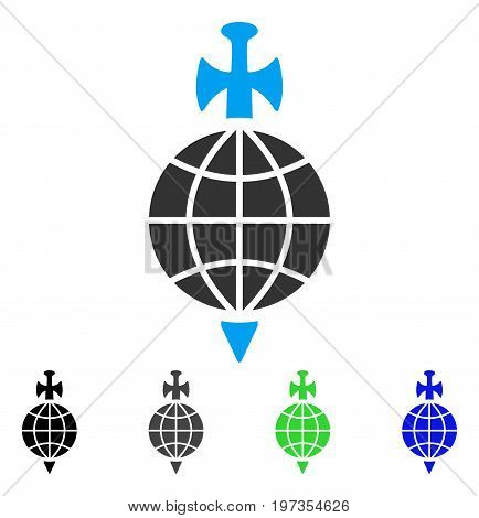 Global Guard flat vector icon. Colored global guard gray, black, blue, green pictogram variants. Flat icon style for application design.