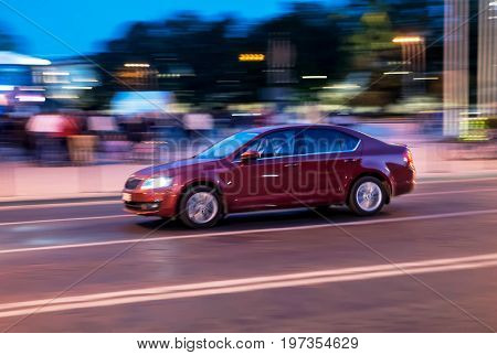 Running Car In Motion In Vilnius Street Baltic