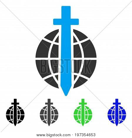 Global Guard flat vector pictograph. Colored global guard gray, black, blue, green icon versions. Flat icon style for graphic design.