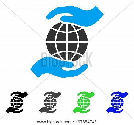 Global Insurance flat vector illustration. Colored global insurance gray, black, blue, green icon variants. Flat icon style for web design.