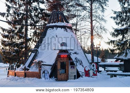 Suomi Traditional House In Santa Claus Village Finnish Lapland Scandinavia