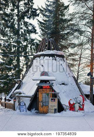Suomi Traditional House At Santa Claus Village Finnish Lapland Scandinavia