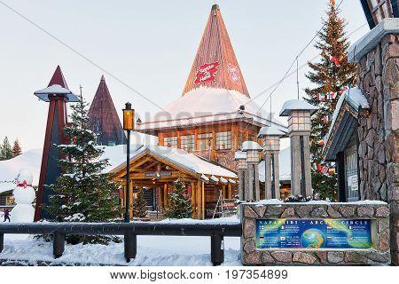 Santa Claus Village In Lapland Of Scandinavia