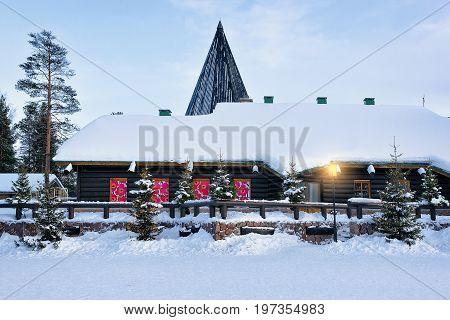 Santa Claus Village At Finnish Lapland Scandinavia