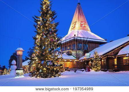 Santa Claus Village At Lapland Scandinavia At Night