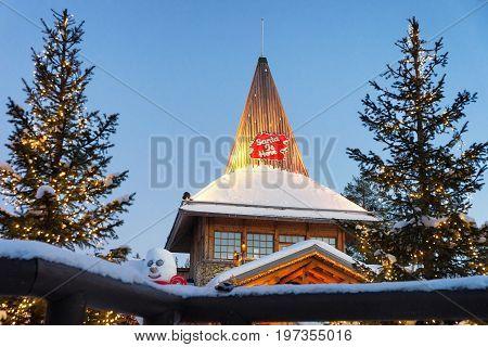 Santa Claus Village Lapland Scandinavia At Night