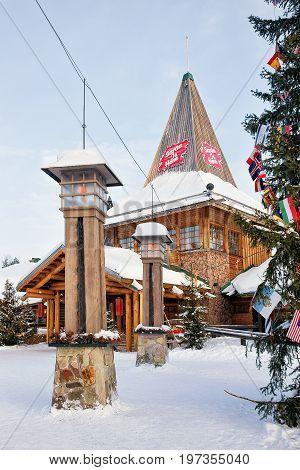 Santa Claus Office In Santa Village In Finnish Lapland Scandinavia