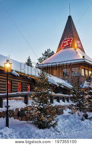 Santa Claus Office At Santa Village Finnish Lapland Scandinavia Sunset