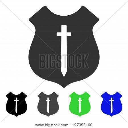 Guard Shield flat vector icon. Colored guard shield gray, black, blue, green icon versions. Flat icon style for graphic design.
