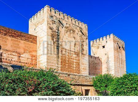 Alhambra, Granada, Andalusia, Spain, Nasrid Emirate fortress European travel landmark in Andalusia