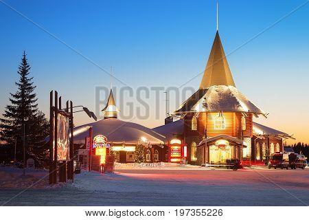 Santa Claus Holiday Village In Lapland Scandinavia At Sunset