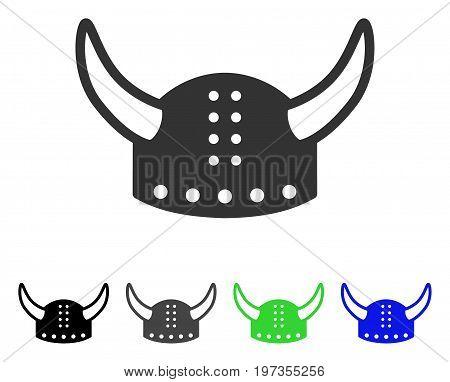 Horned Helmet flat vector illustration. Colored horned helmet gray, black, blue, green pictogram versions. Flat icon style for application design.