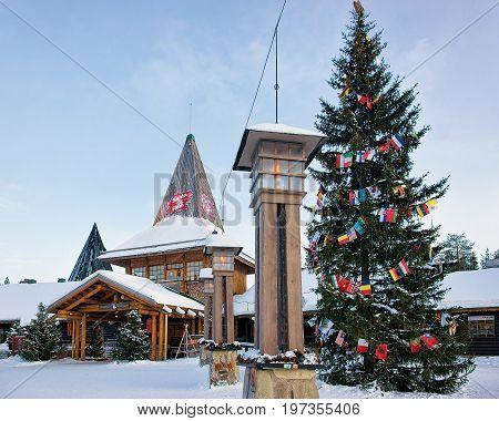 Lanterns At Santa Claus Village Lapland Scandinavia