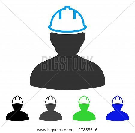 Person In Hardhat flat vector illustration. Colored person in hardhat gray, black, blue, green pictogram versions. Flat icon style for application design.