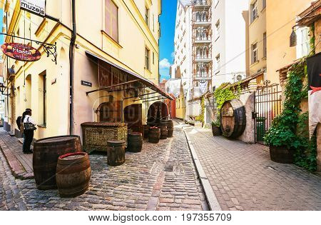 Street Cafe And People In Historical Center Of Riga Baltic