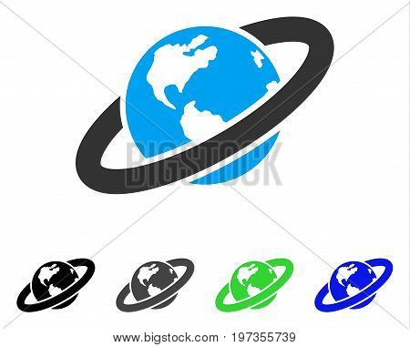 Ringed Planet flat vector illustration. Colored ringed planet gray, black, blue, green icon versions. Flat icon style for graphic design.