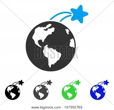 Rising Satellite On Earth flat vector pictogram. Colored rising satellite on earth gray, black, blue, green pictogram versions. Flat icon style for graphic design.