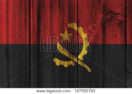 Angola Flag Painted On Wooden Wall For Background