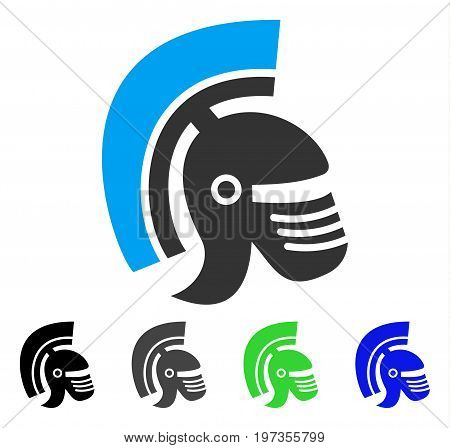 Rome Helmet flat vector illustration. Colored rome helmet gray, black, blue, green icon variants. Flat icon style for web design.