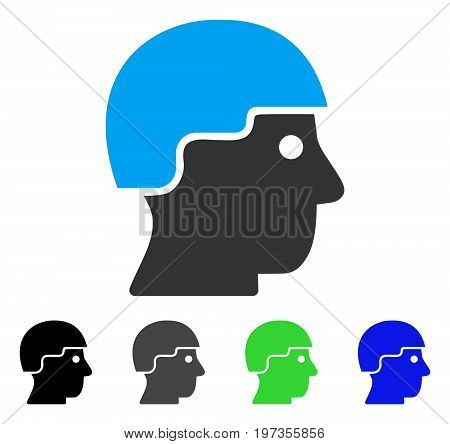 Soldier Helmet flat vector icon. Colored soldier helmet gray, black, blue, green icon versions. Flat icon style for application design.