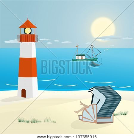 Summer landscape. North Sea at the beach with lighthouse, woman in roofed wicker beach chair and typical fishing boat.