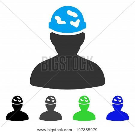 Soldier Under Spotted Helmet flat vector illustration. Colored soldier under spotted helmet gray, black, blue, green icon versions. Flat icon style for application design.