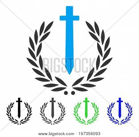 Sword Honor Embleme flat vector pictograph. Colored Sword honor embleme gray, black, blue, green icon versions. Flat icon style for application design.