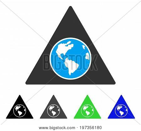Terra Triangle flat vector icon. Colored terra triangle gray, black, blue, green pictogram variants. Flat icon style for graphic design.