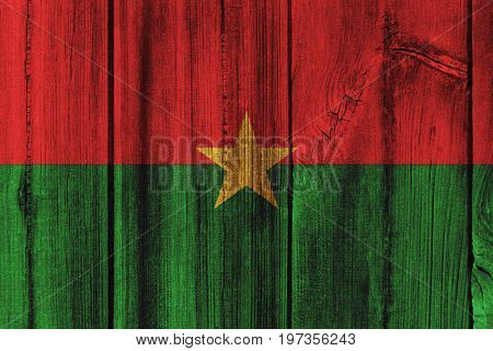 Burkina Faso Flag Painted On Wooden Wall For Background