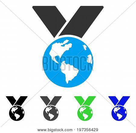 World Medal flat vector pictograph. Colored World medal gray, black, blue, green pictogram variants. Flat icon style for web design.