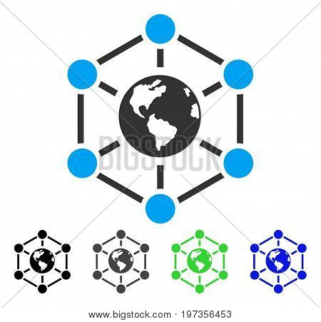 Worldwide Internet flat vector illustration. Colored Worldwide internet gray, black, blue, green pictogram variants. Flat icon style for web design.