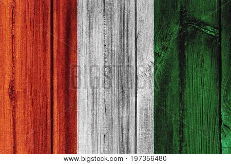 Cote D'ivoire Flag Painted On Wooden Wall For Background