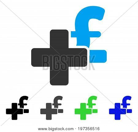 Add Pound flat vector pictograph. Colored add pound gray, black, blue, green pictogram versions. Flat icon style for application design.