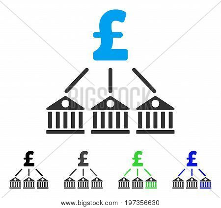 Bank Pound Expenses flat vector pictograph. Colored bank pound expenses gray, black, blue, green pictogram versions. Flat icon style for web design.