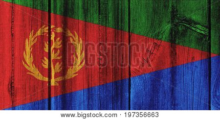 Eritrea Flag Painted On Wooden Wall For Background