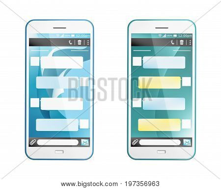 3D render of text message in two styles on phone that be customized