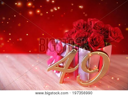 birthday concept with red roses in the gift on wooden desk. 3D render - forty-nineth birthday. 49th