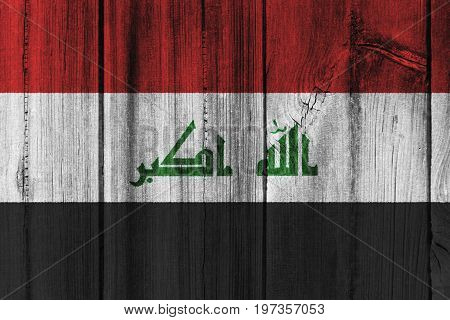 Iraq Flag Painted On Wooden Wall For Background