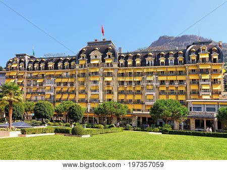 Park And Luxury Hotel At Geneva Lake Montreux Swiss Riviera