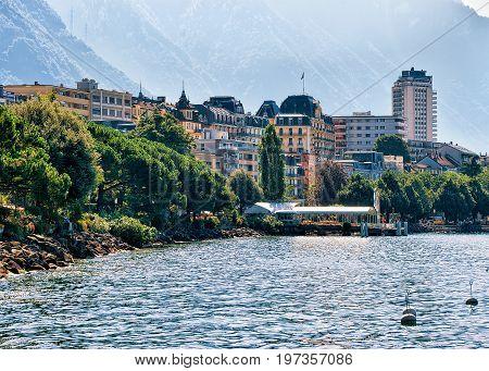 Montreux Town On Geneva Lake Swiss Riviera